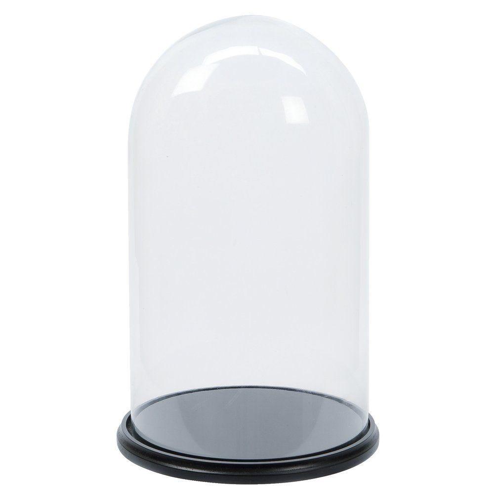 Cloche verre sur assiette bois 35x60cm (photo)