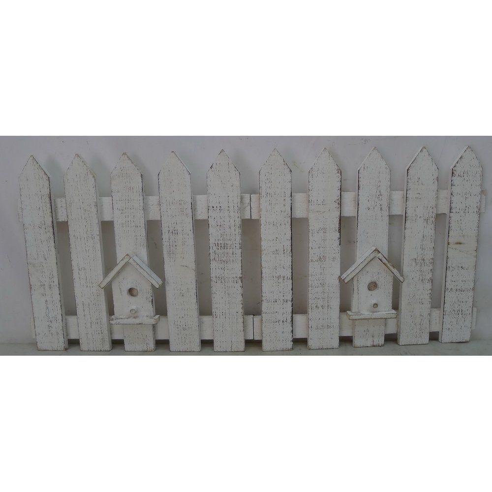 Barrière en bois blanc enneigée 70x30cm (photo)