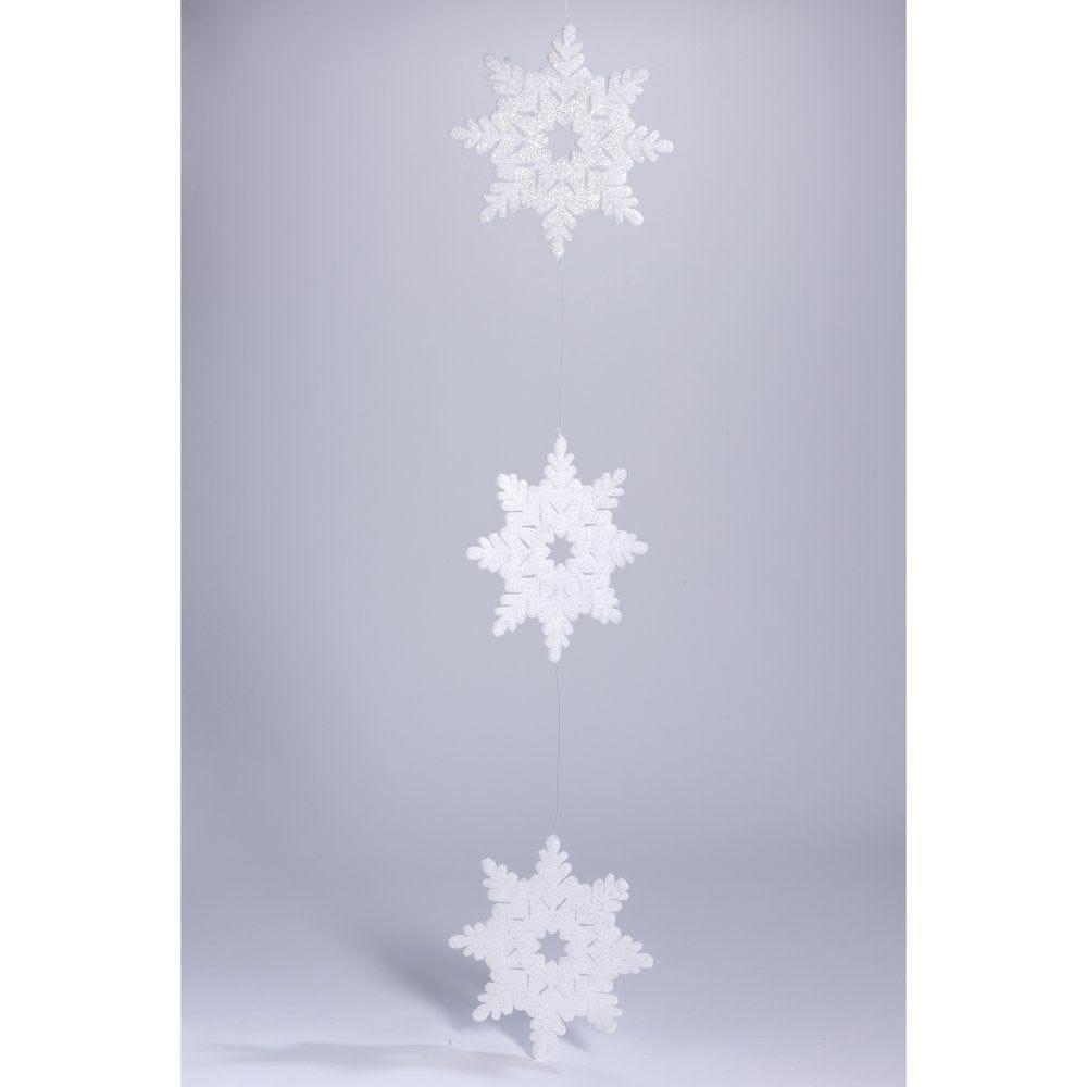 Guirlande de flocons blancs glitter 190cm (photo)