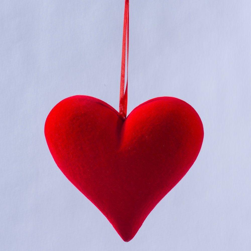 Coeur à suspendre rouge floqué L.20,5 x H.19cm (photo)