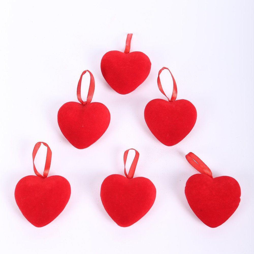 Coeur rouge floqué H.6,3cm par 6 (photo)