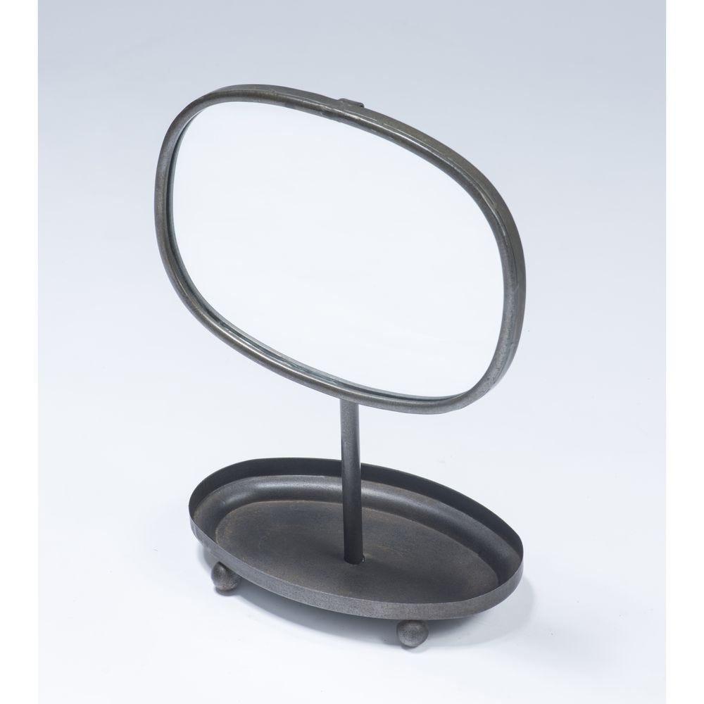 Miroir métal sur pied 28x15x37cm (photo)