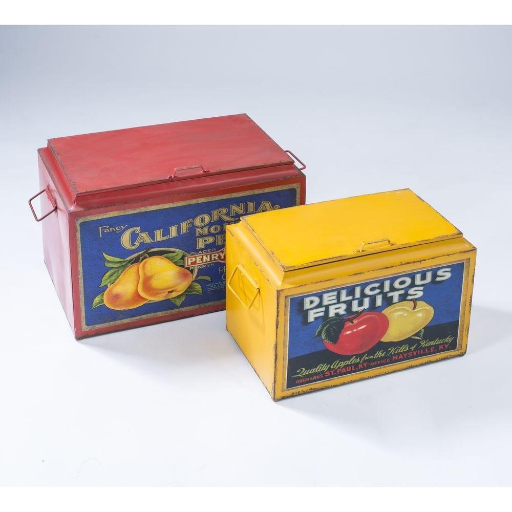 Boîte métal aux couleurs assorties - set 2 - L: 51x31.8x34cm + S: 43x25x29cm (photo)