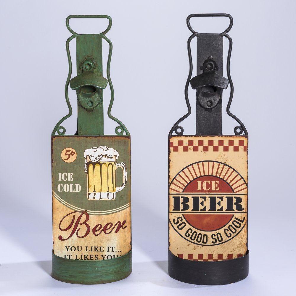 Décapsuleur bouteille en métal 12.8x40.5cm - 2 modèles au choix (photo)