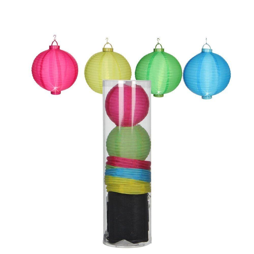 Lanterne chinoise 1 led Ø 7,5cm - boîte de 8 - 4 couleurs assorties (photo)