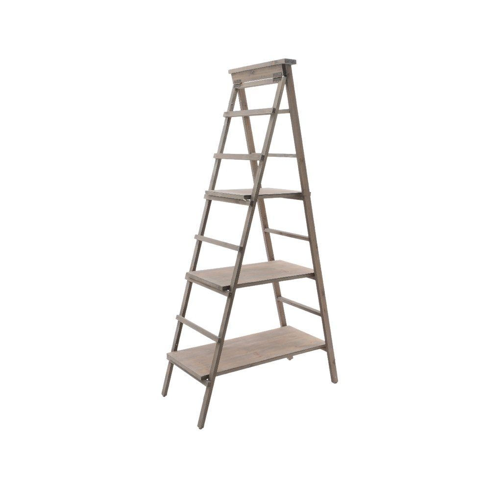 Présentoir échelle en bois avec 3 étagères en 80x41x163cm (photo)
