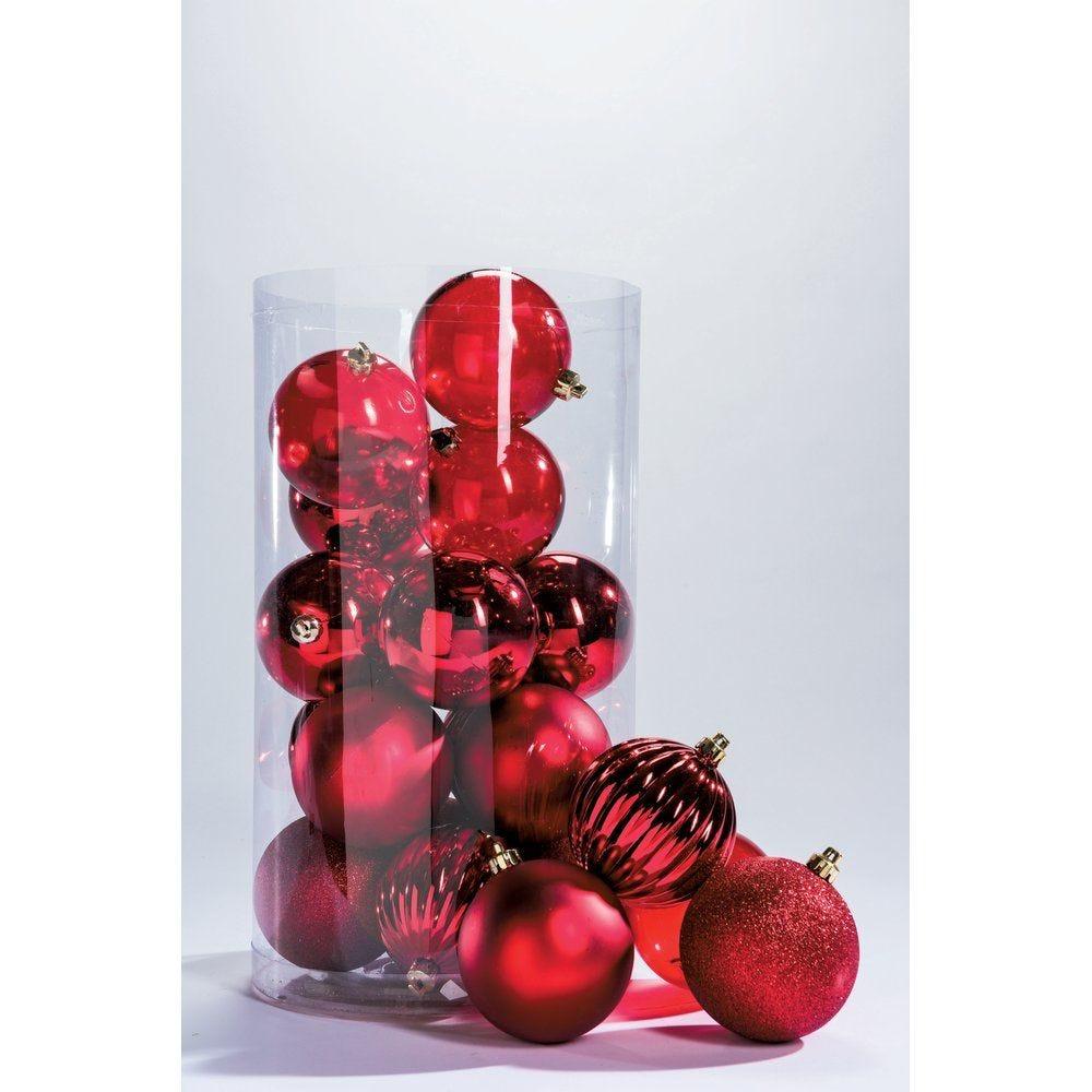 Boules rouges 5 finitions assorties en 10cm - par boite de 20