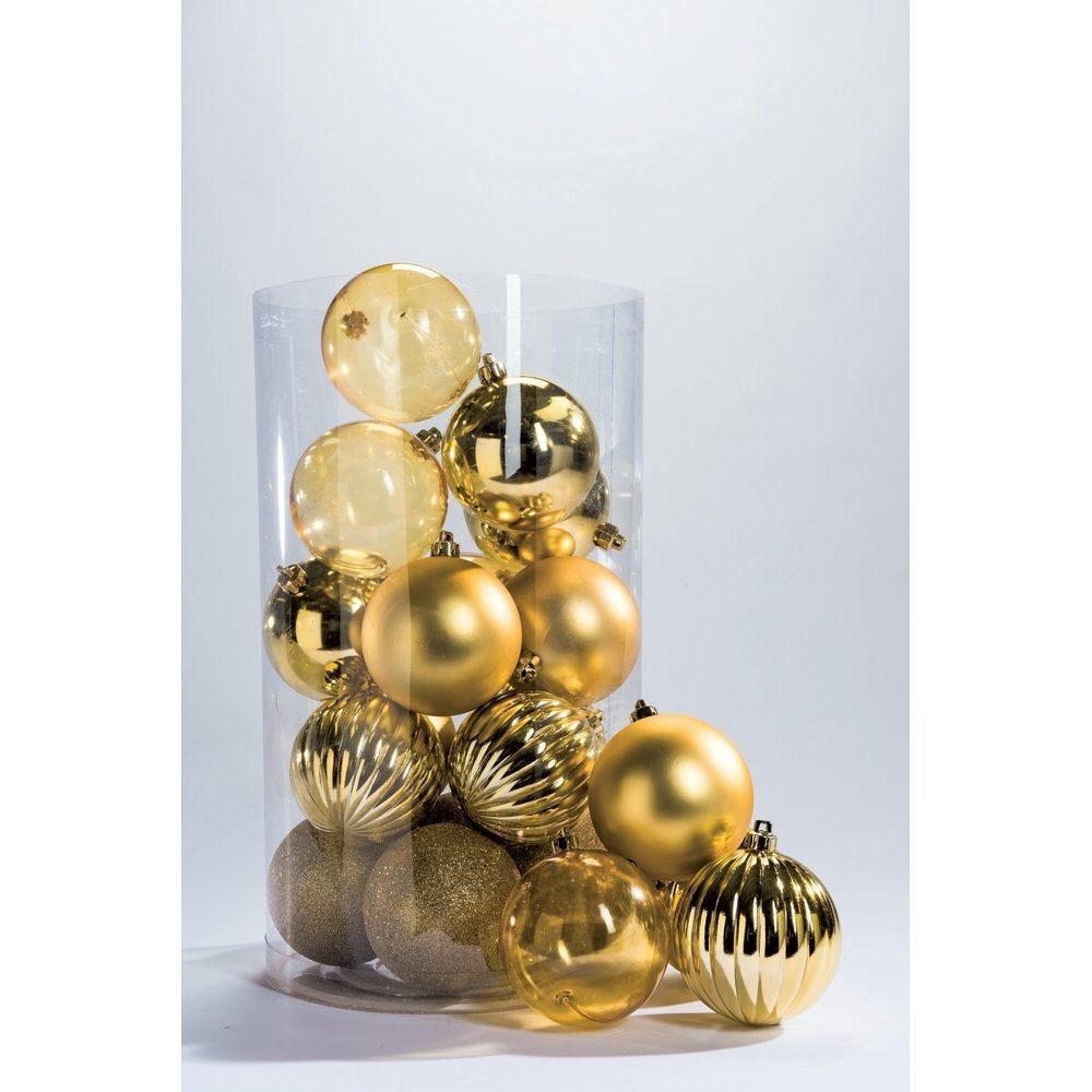 Boules or 5 finitions assorties en 10cm - par boite de 20