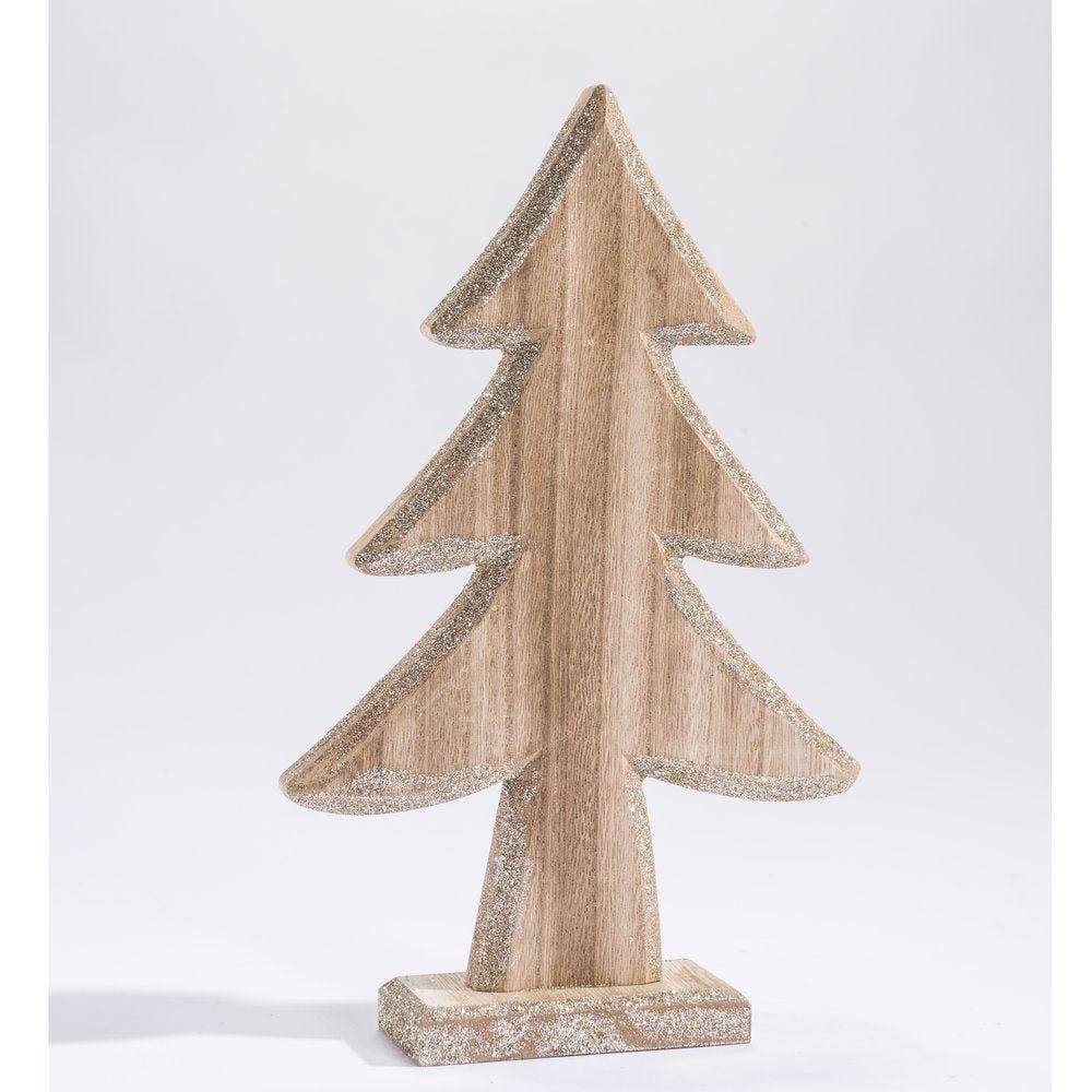 Sapin en bois naturel avec bords glitter argent H.27.5cm (photo)