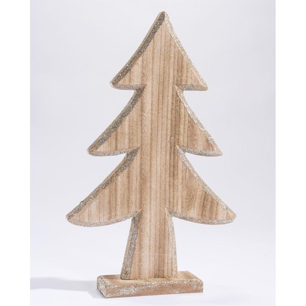 Sapin en bois naturel avec bords glitter argent H.33.5cm (photo)