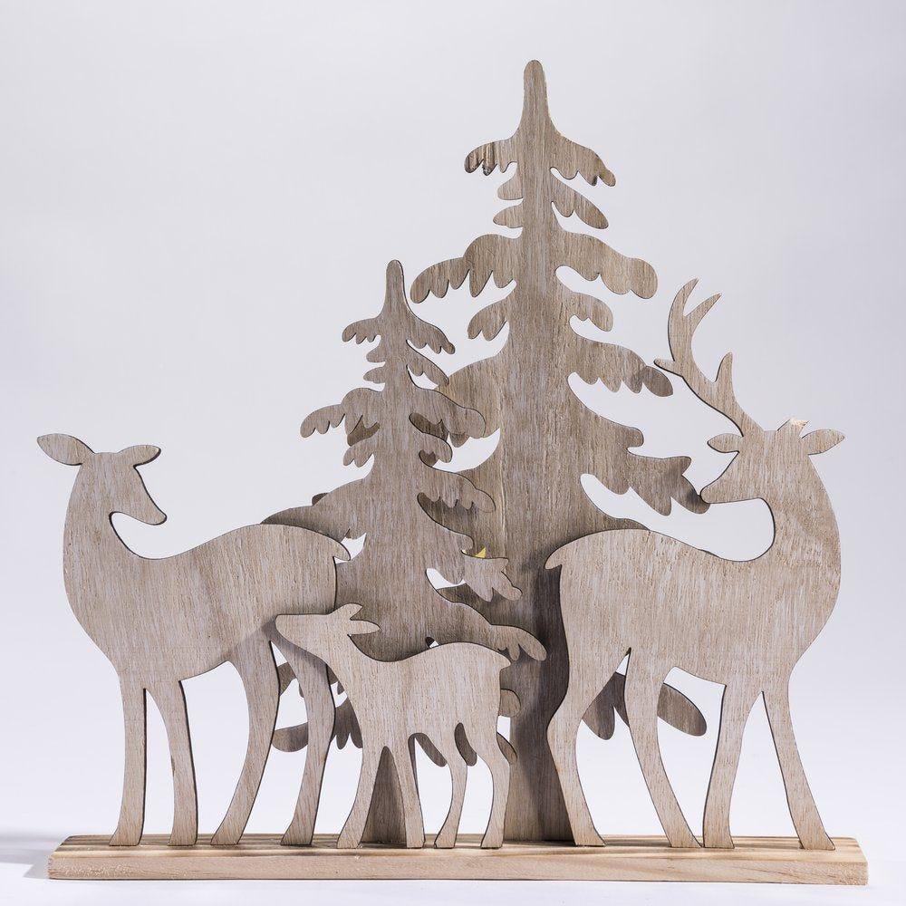 Façade sapins et cerfs en bois H.37x36cm (photo)