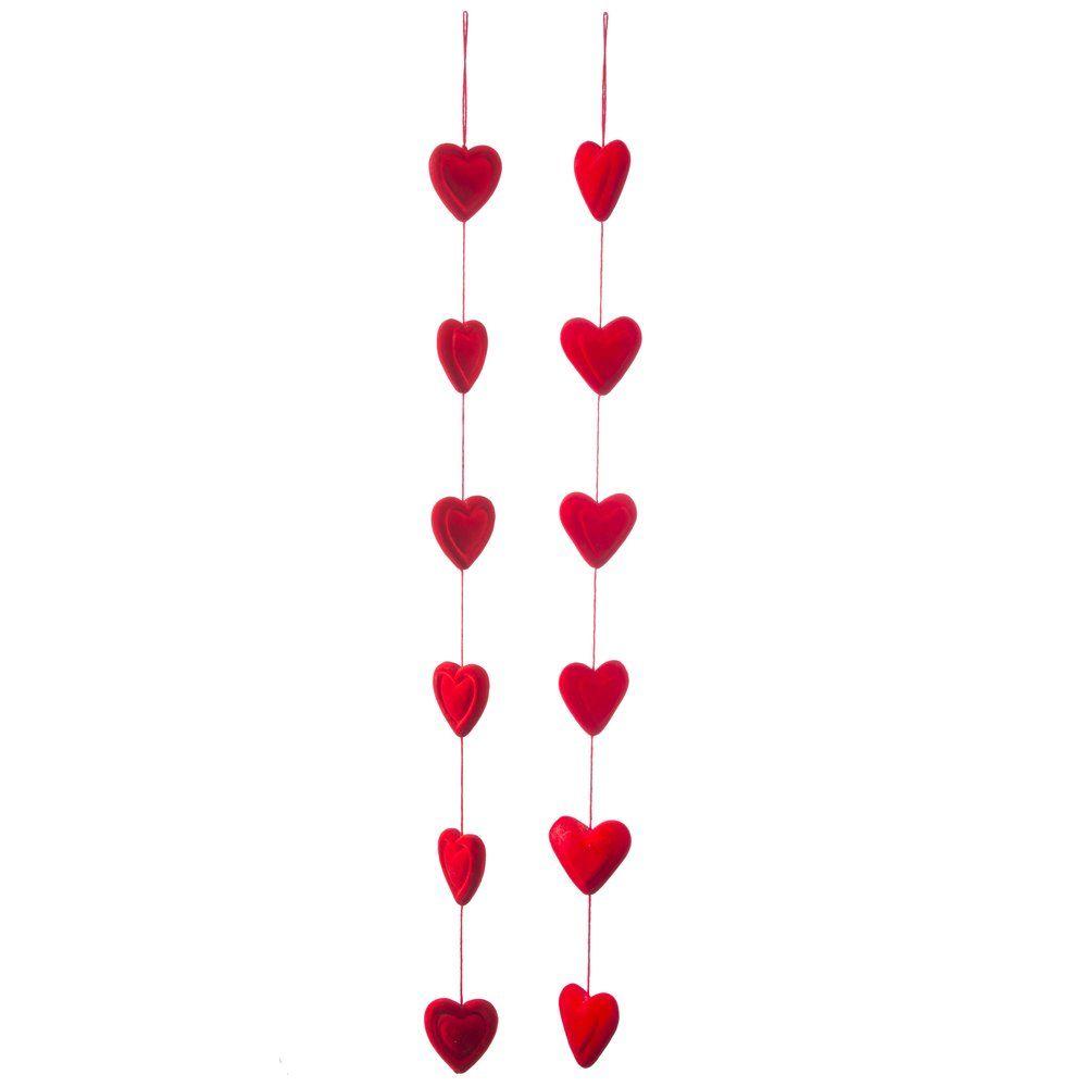 Guirlande de 6 coeurs rouges L.95cm - modèle au choix (photo)