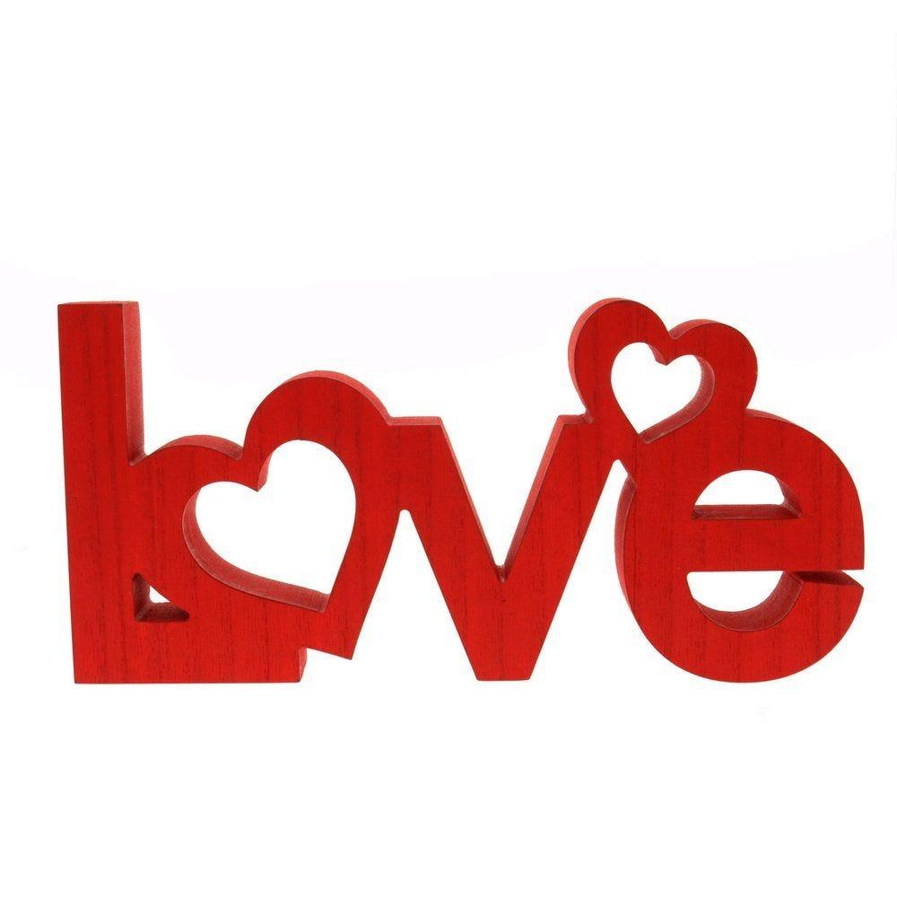 Love en bois rouge à poser avec 2 coeurs rouges incrustés L.31 x h.15cm (photo)