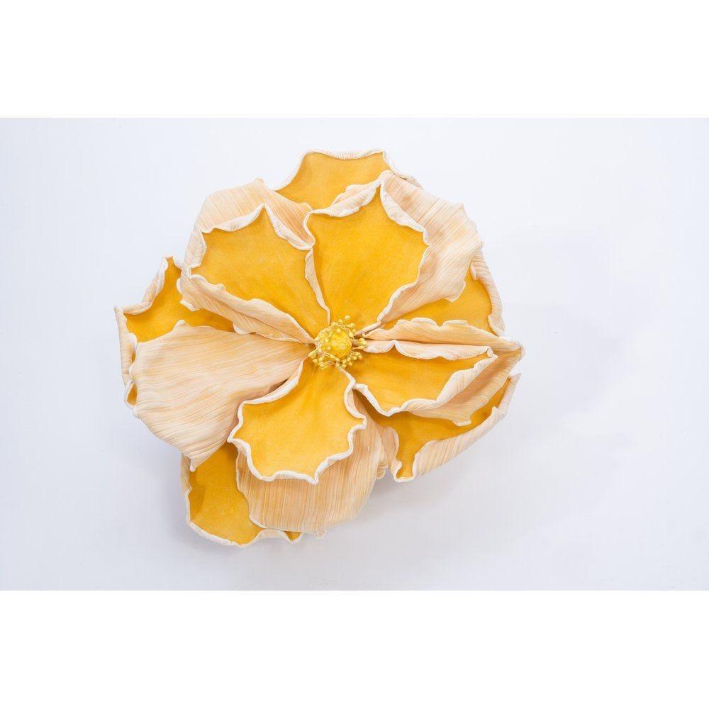 Fleur jaune sur tige D.35 x L.40cm (photo)