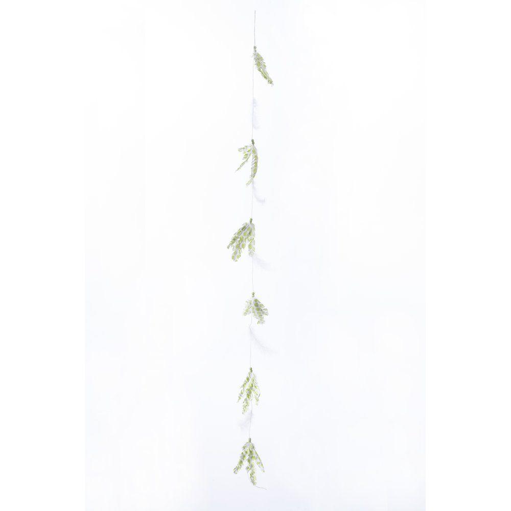 Guirlande de plumes imprimées vertes L.170cm (photo)
