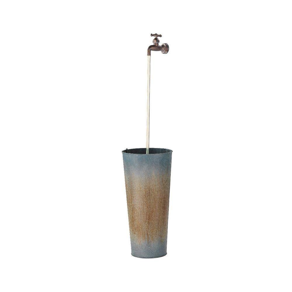 Fontaine robinet en zinc avec led D.18 x H.55cm (photo)