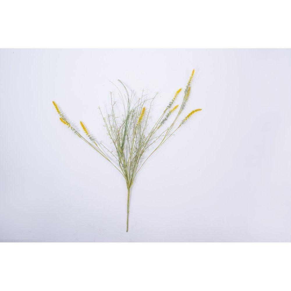 Piquet d'herbe verte avec fleurs jaunes sauvages H.60cm (photo)