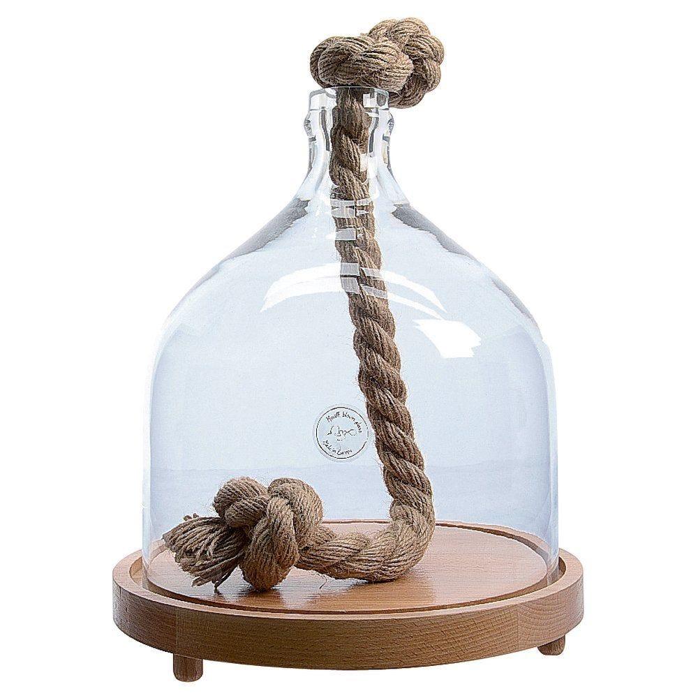 Cloche en verre avec socle en bois et corde D.27 x H.36cm (photo)