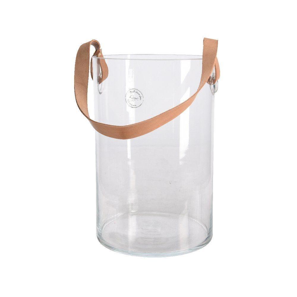 Photophore en verre transparent et anse en cuir D.19 x H.29cm (photo)