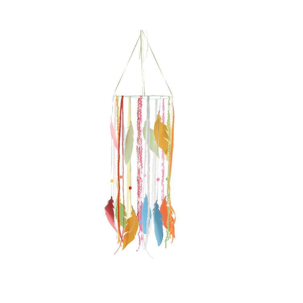 Mobile de plumes et pompons multicolores D.25 x H.65cm (photo)