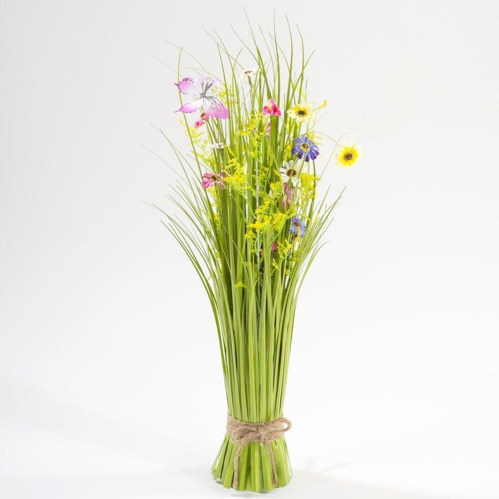 Fagot d'herbes avec fleurs/papillons jaunes et fuchsia H.70cm (photo)