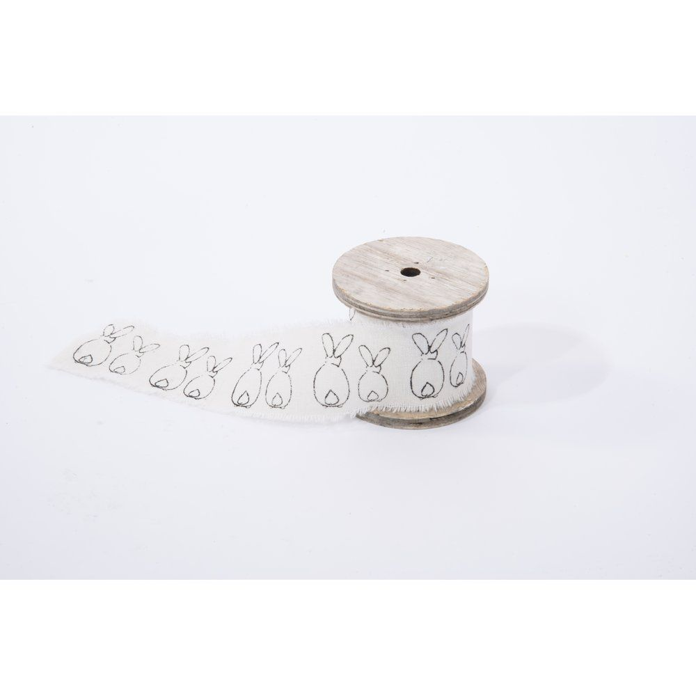 Ruban en coton blanc avec impression lapins noirs L.300 cm (photo)
