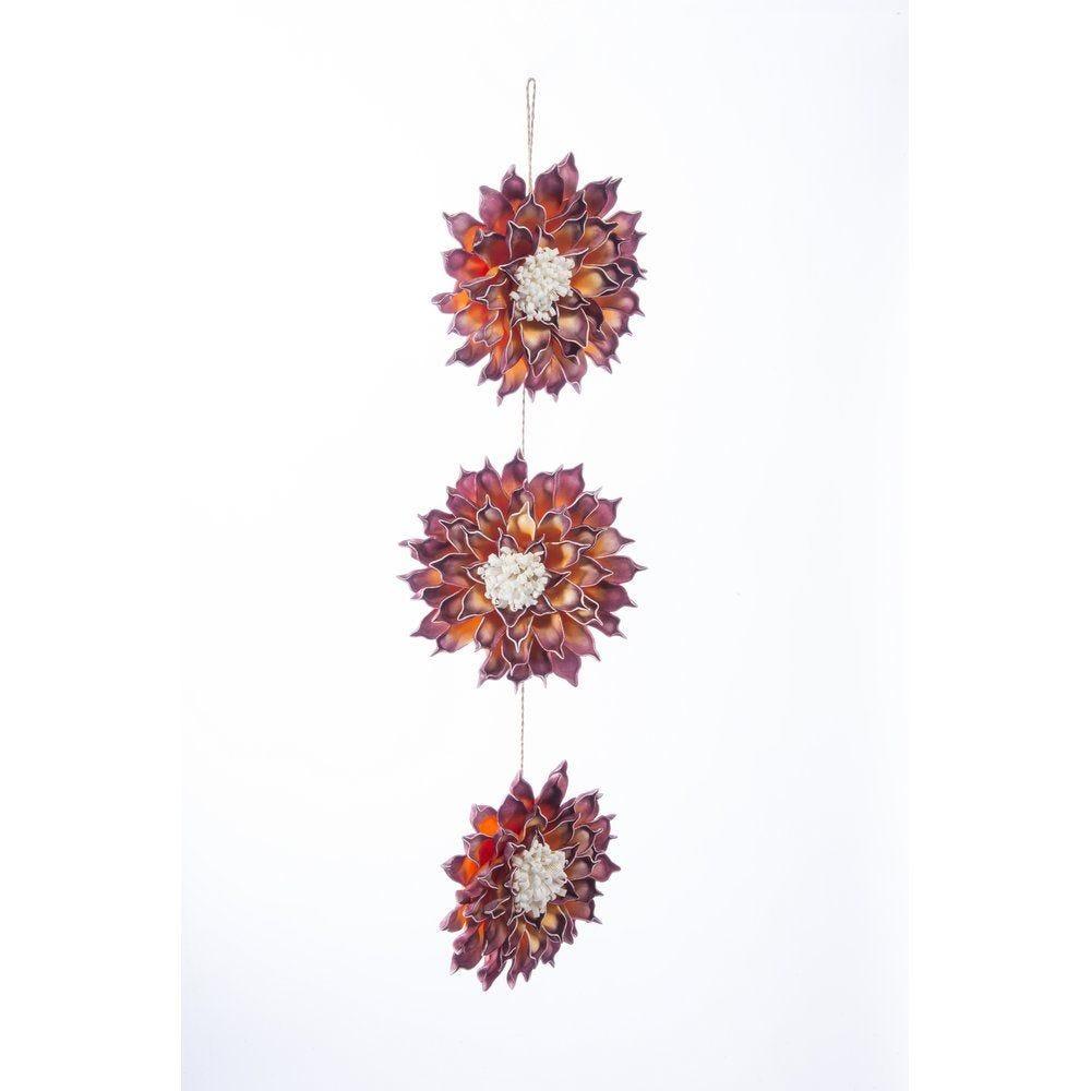 Guirlande de 3 fleurs rouges et orange D.22cm x L.80cm