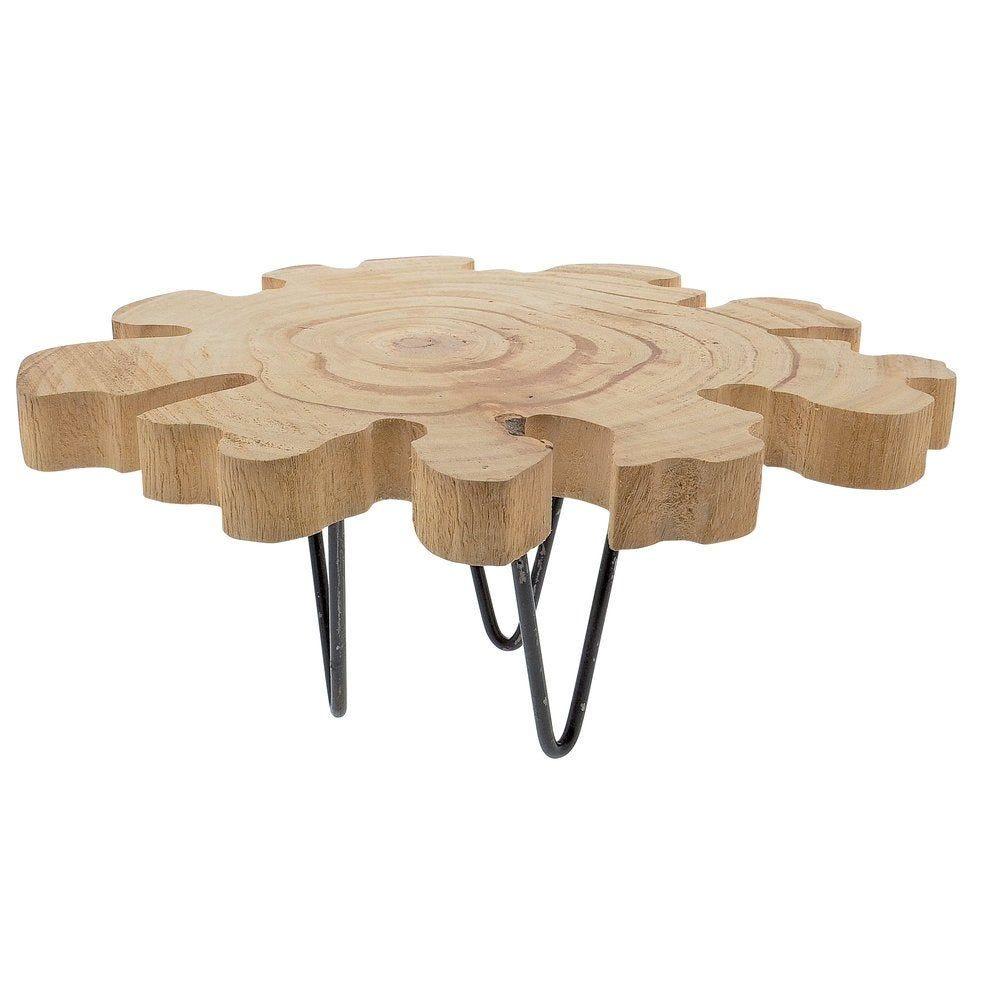 Support en bois sur une base métal L.30 x P.32 x H.16.5cm (photo)