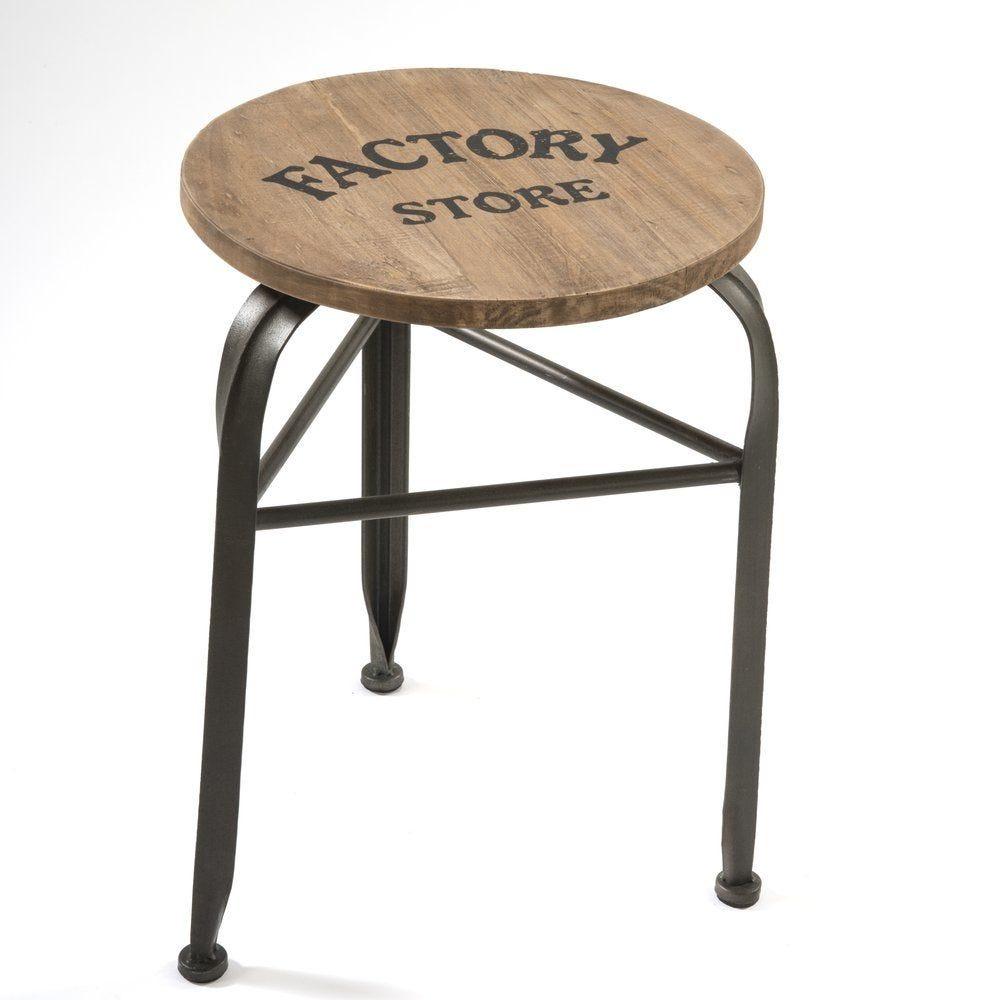 Tabouret assise en bois et pieds métal 40x38x47cm (photo)
