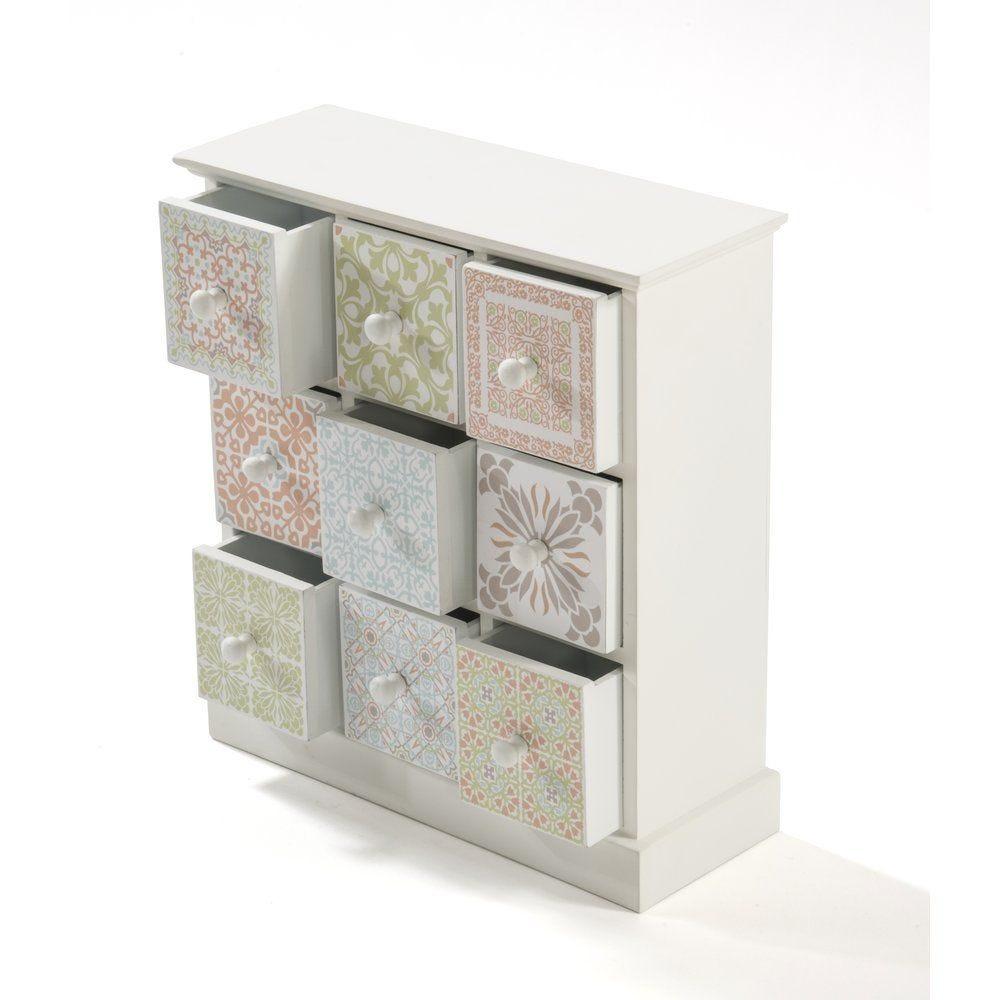 Meuble en MDF blanc avec 9 tiroirs aux couleurs pastels assorties 32x12x35cm