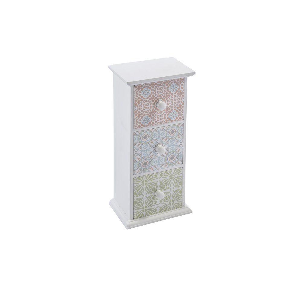 Meuble en MDF blanc avec 3 tiroirs aux couleurs pastels 20x15x43cm