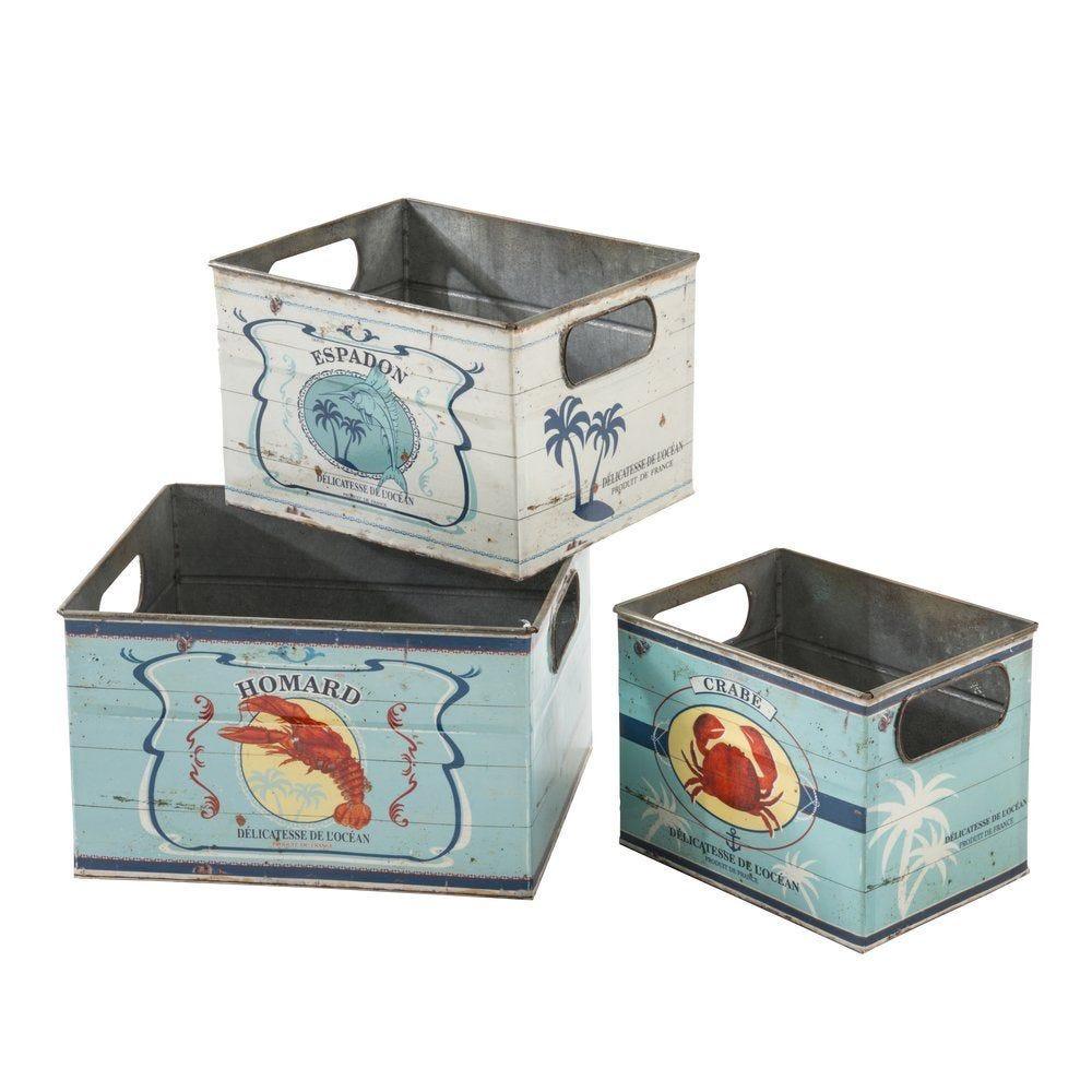 Boîtes métal décor crustacés 3 dimensions - set de 3 pièces (photo)
