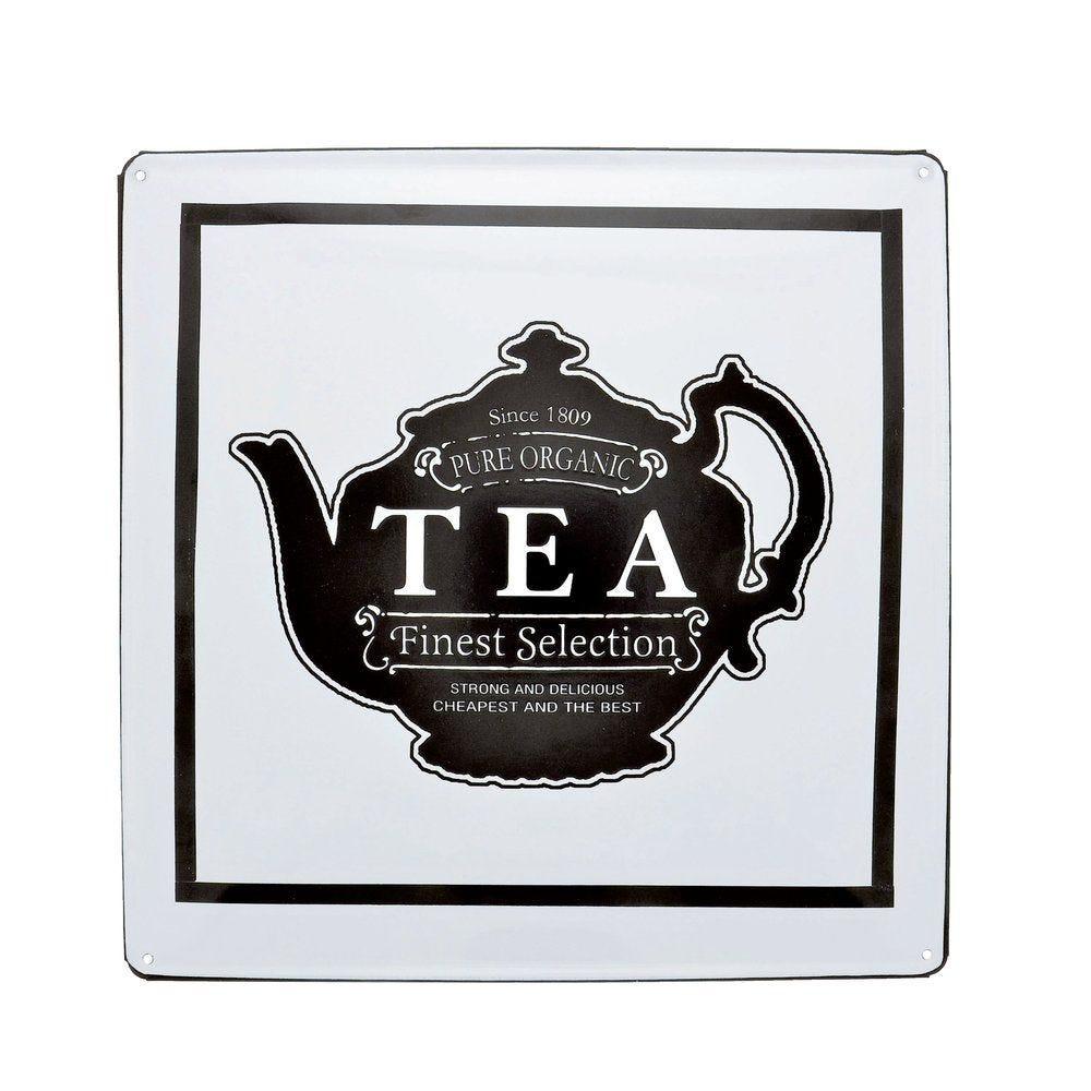 Décor mural en métal blanc et noir motif Tea 35x35cm