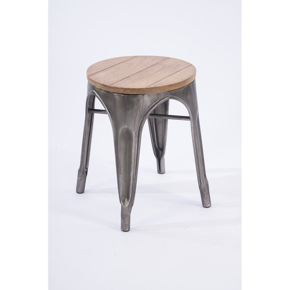 Tabouret métal assise en bois d.34 x h.42cm (photo)