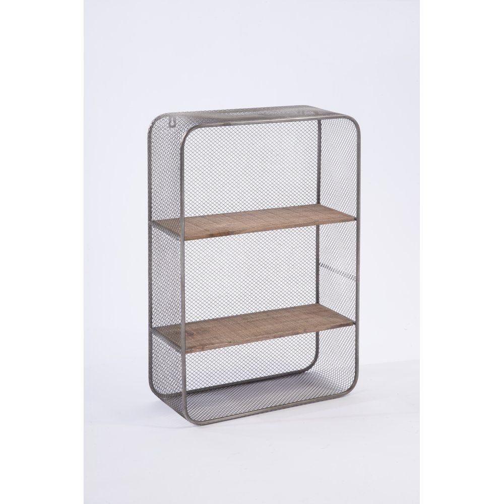 Etagère en bois et métal avec 2 tablettes 40x60cm