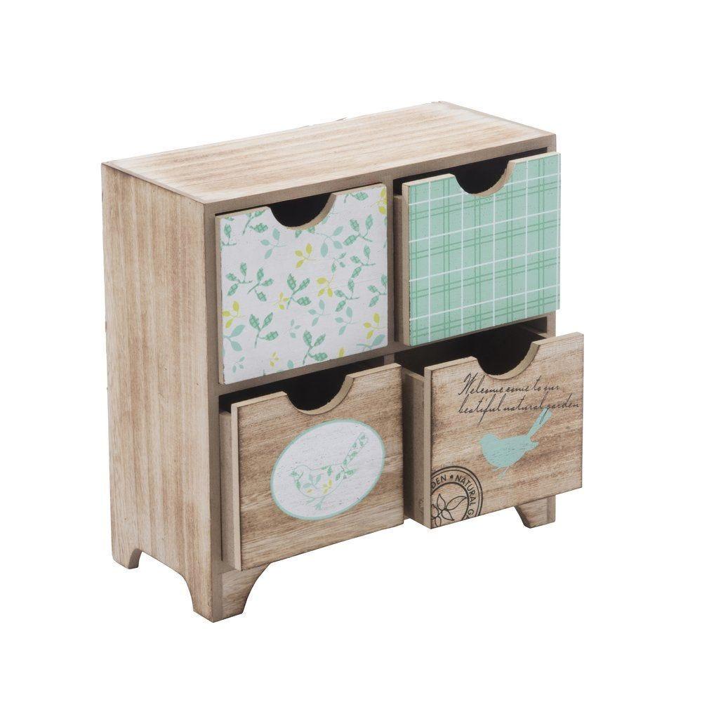 Boîte bois avec 4 tiroirs décorés 22.5 x 11 x 22.5 cm (photo)