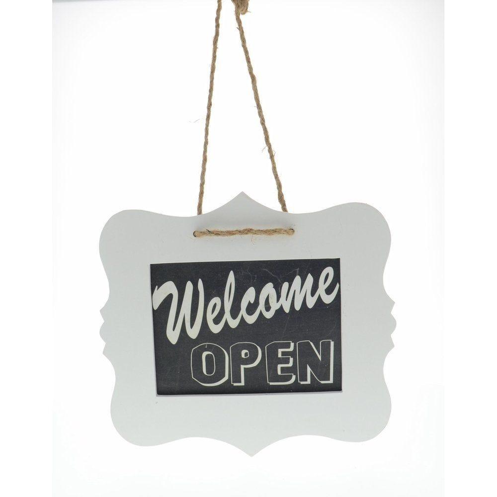 Pancarte 'Welcome' à suspendre blanc et noir 28x25cm (photo)