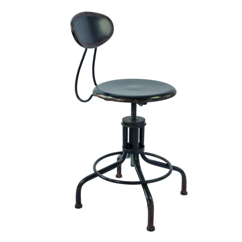 Chaise en métal noir d.51 x h.72/87cm (photo)