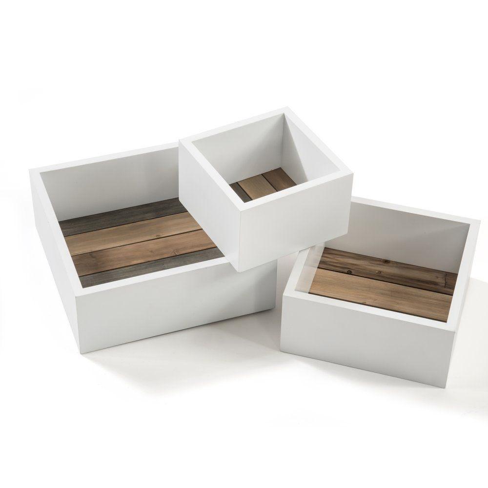 Caisses bois blanc et fond lattes L.21+26.5+31cm (photo)