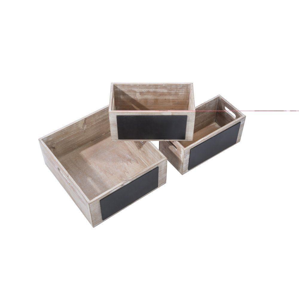 Caisses en bois avec ardoise 32.8x29x13.2cm et 26.7x14.5x13.2cm set de 3 (photo)