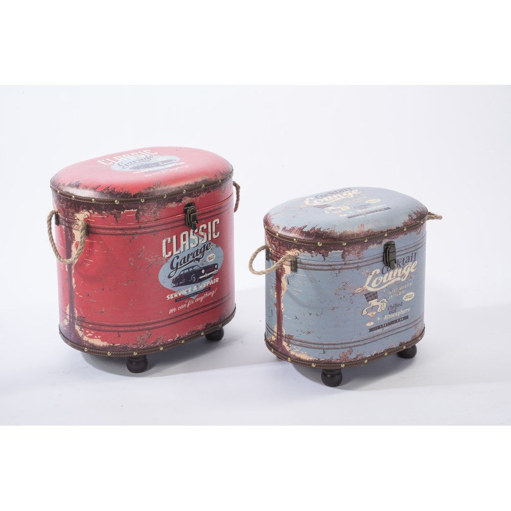 Pouf Classic rouge et Lounge bleu 42x35x48cm et 46.5x30.5x41cm (photo)