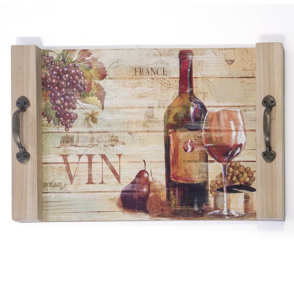 Plateau décor vinicole 48x30cm (photo)