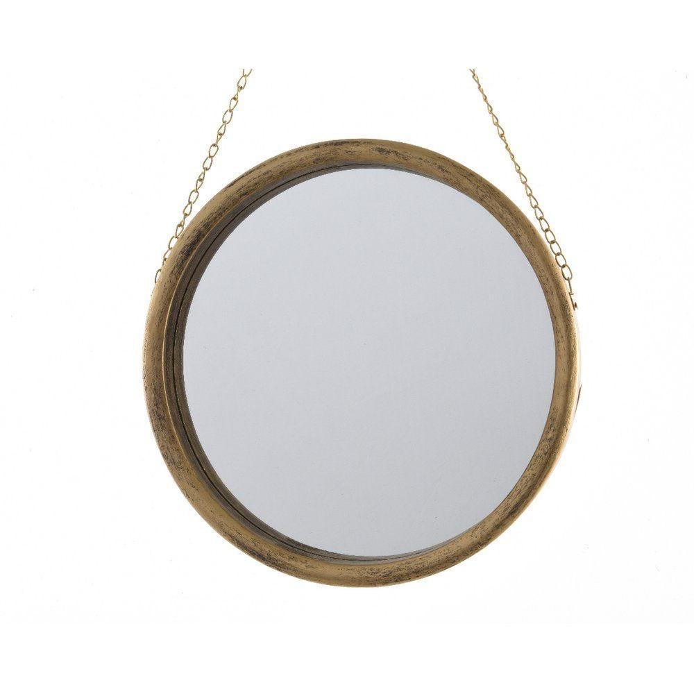 Miroir rond à suspendre d.38cm or métallisé (photo)