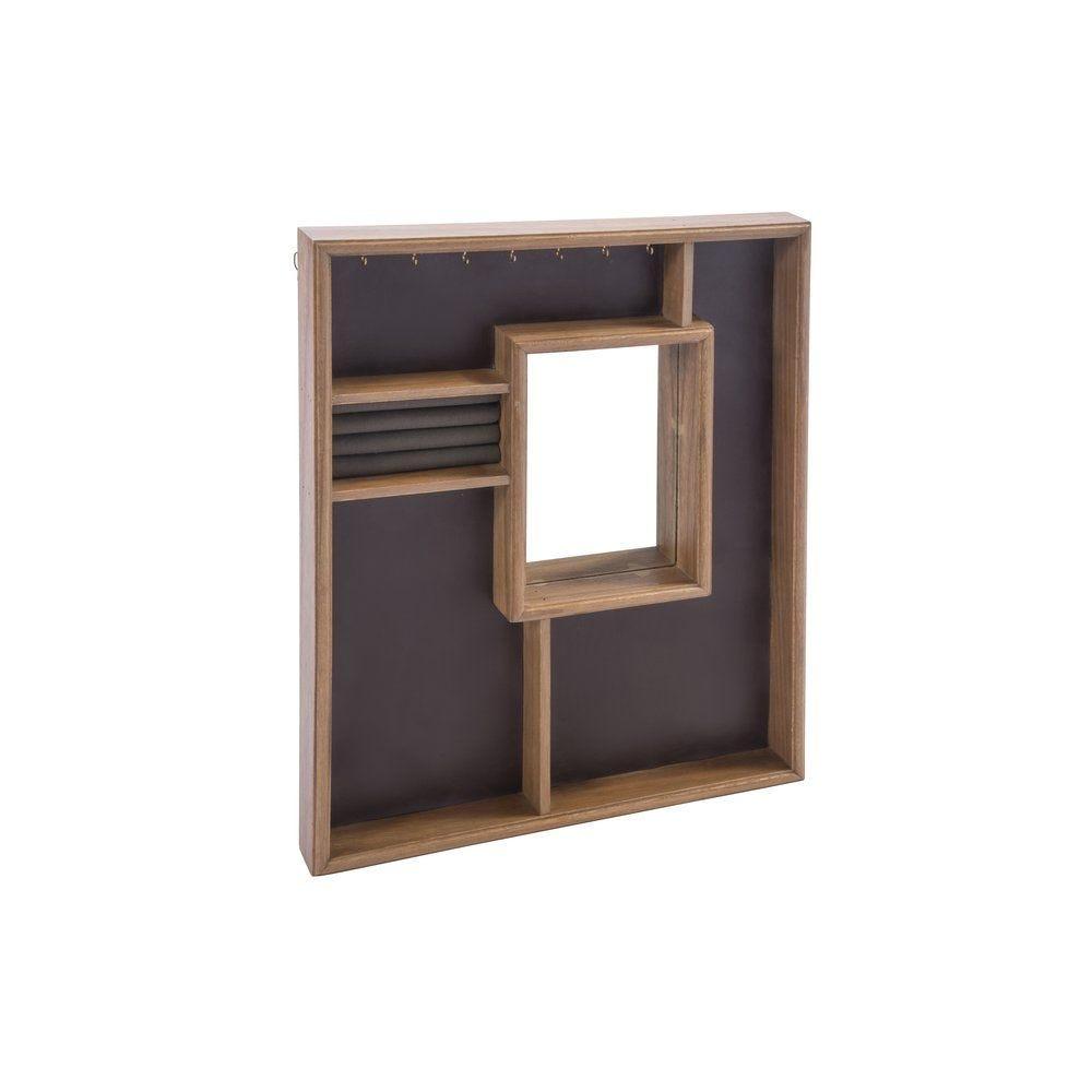 Boîte bijoux avec miroir, crochets et compartiments 48x5x60cm (photo)