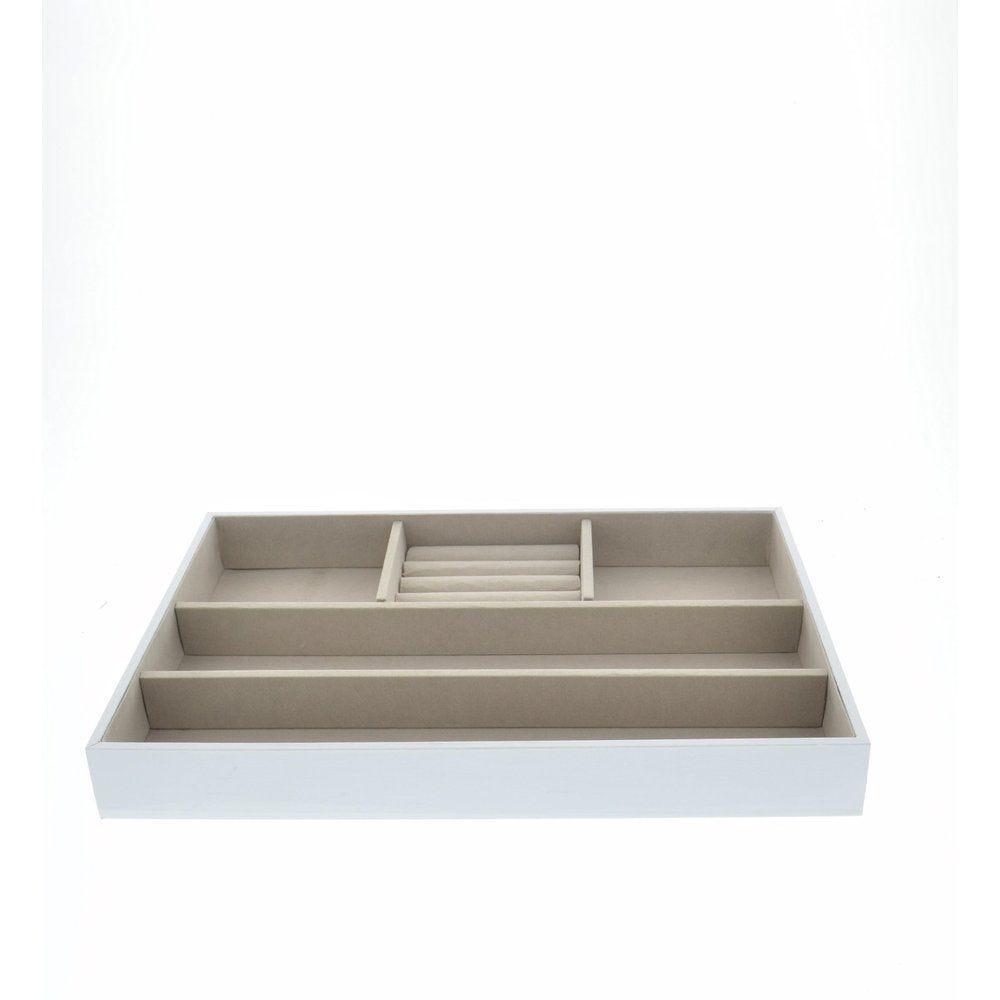 Boîte bijoux blanche intérieur gris 34x23x4cm (photo)