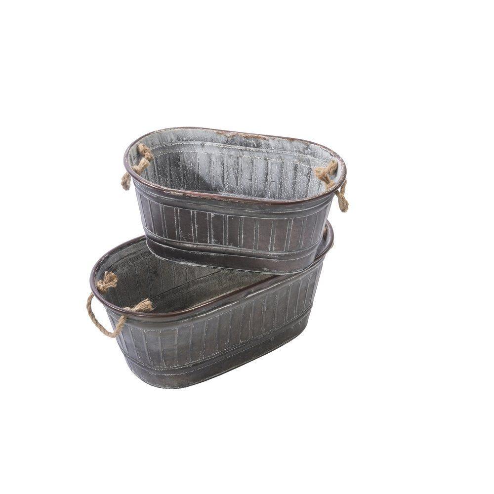 Bassines en métal gris 49.5x26x20 + 40x24x18cm - set de 2 (photo)