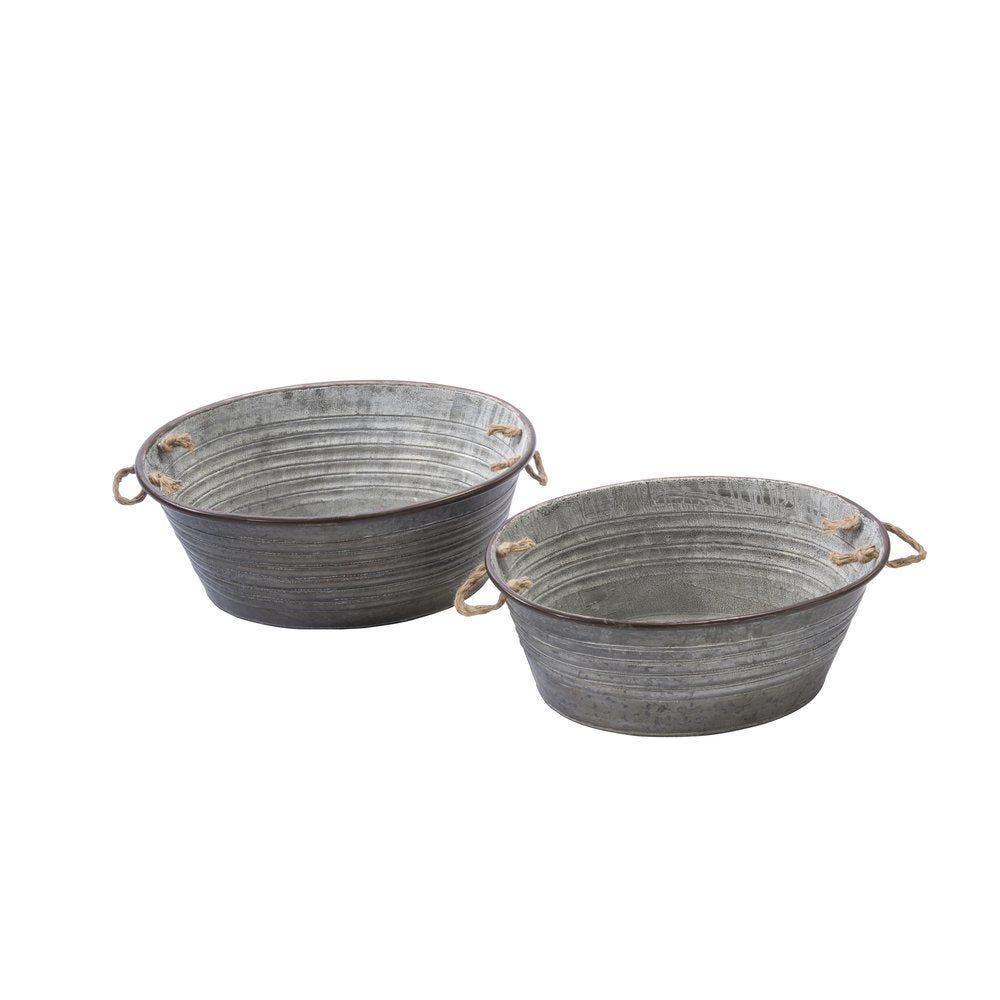 Bassines en métal gris 58x40.5x24 + 53x38x22cm (photo)