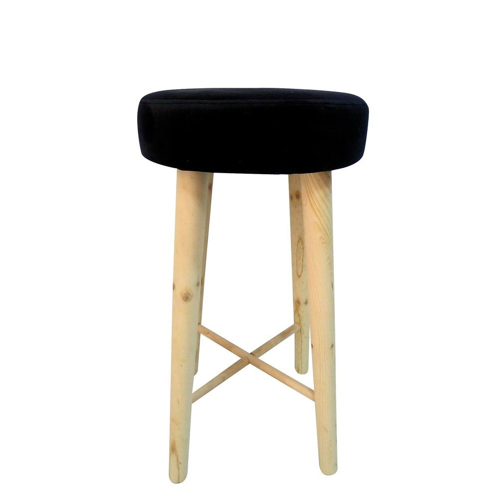 Tabouret assise tissu noir d. 37 x h. 69cm (photo)