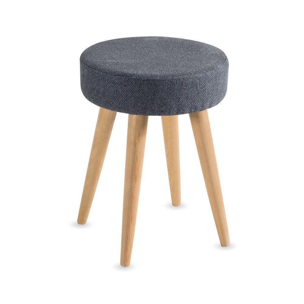 Tabouret tissu gris et pieds en bois d.37.5 x H.50 cm (photo)