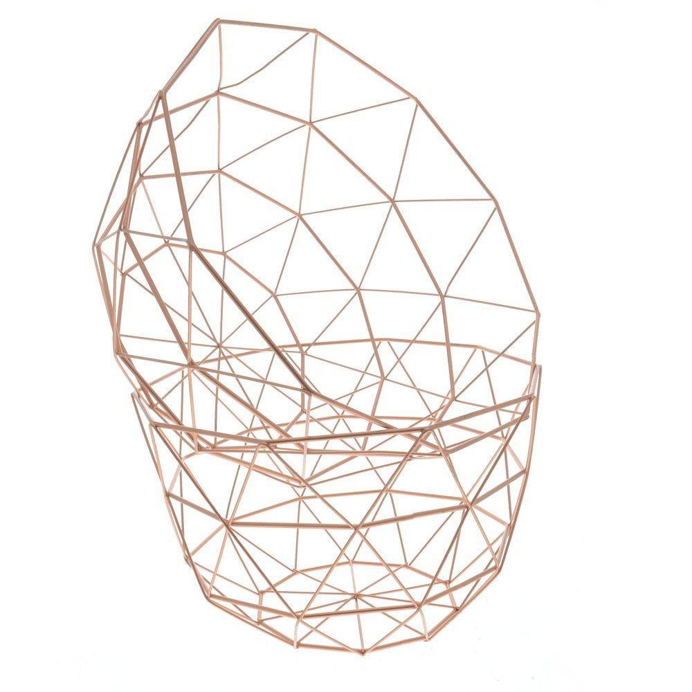 Corbeilles fil cuivre rondes 27x16 et 30x17cm - set de 2 (photo)
